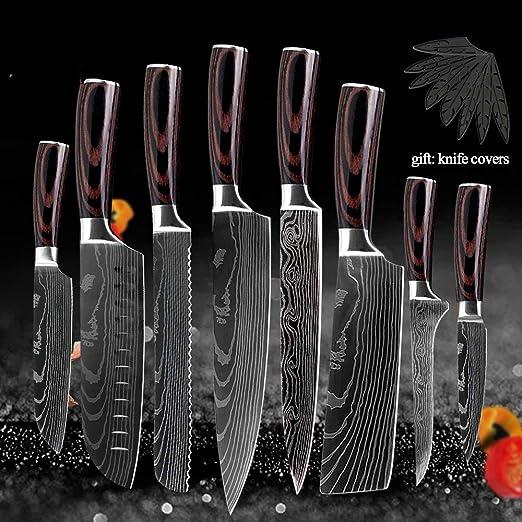8 piezas Cocina japonesa Cuchillos de acero inoxidable Cuberteria Laser Damascus Pattern Cuchillo de chef Estuche para Cuchillos de Regalo para Herramientas Guardias de borde: Amazon.es: Hogar
