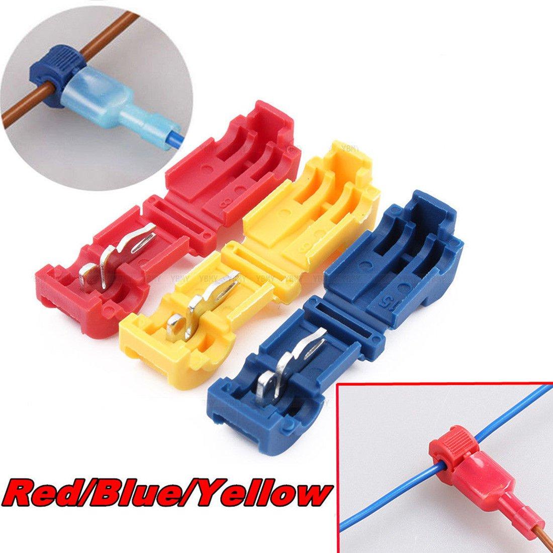 60pcs Wire Connectors, Yellow/Blue/Red Gauge Quick Splice Lock Wire Terminals Connectors Spade Wire Crimp Electrical Wire Set