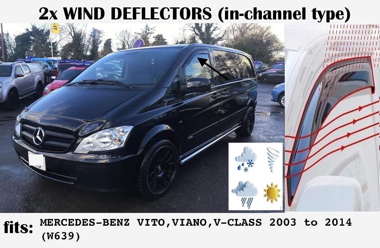 Set di 2 deflettori daria tipo IN-CHANNEL compatibili con Mercedes Benz Vito Viano Classe V W639 2003 2004 2005 2006 2007 2008 2009 2010 2011 2012 2013 2014 Visiere laterali in vetro acrilico