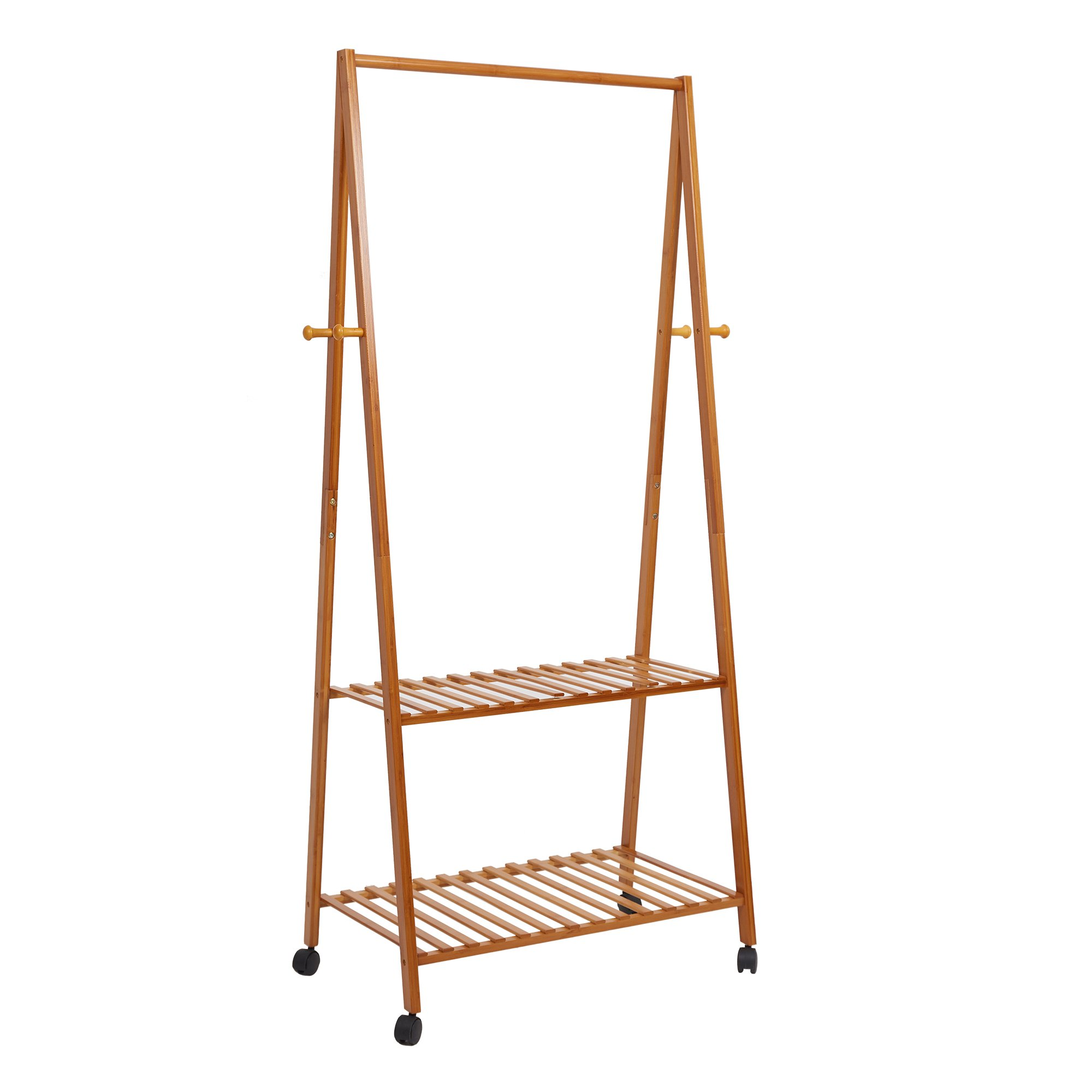 Lucky Tree Bamboo Garment Clothes Rack on Wheels Entryway Hall Tree 4 Coat Hooks 2-Tire Storage Shelves Wood Rack Stand for Laundry Guest Room
