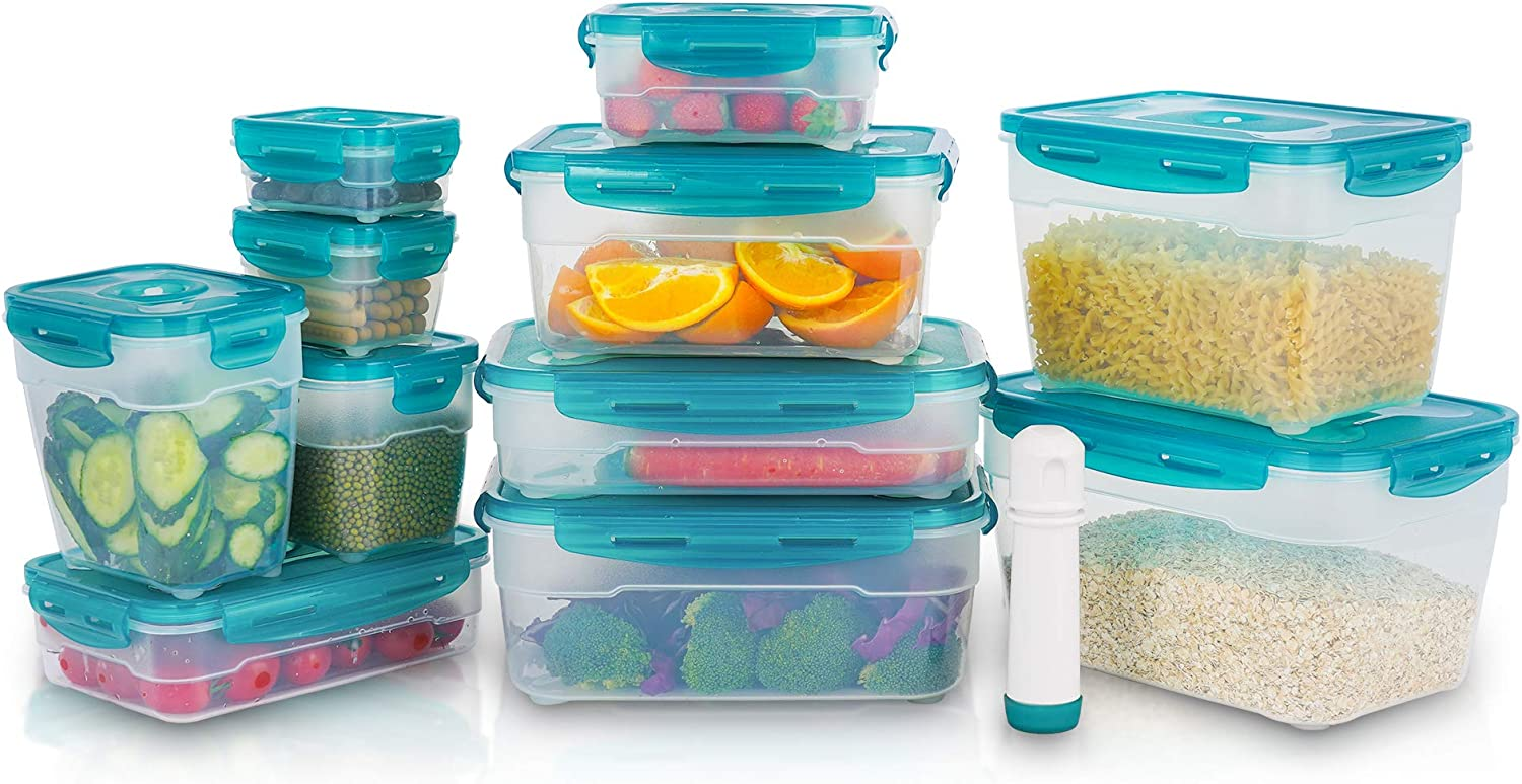 Vacuum Seal Food Storage Containers with Lids - 21 Piece Plastic Food Container Set with Locking Lids - Airtight Food Containers BPA-free - Rectangle Clear, SEIZON, SFHW-FS NEW
