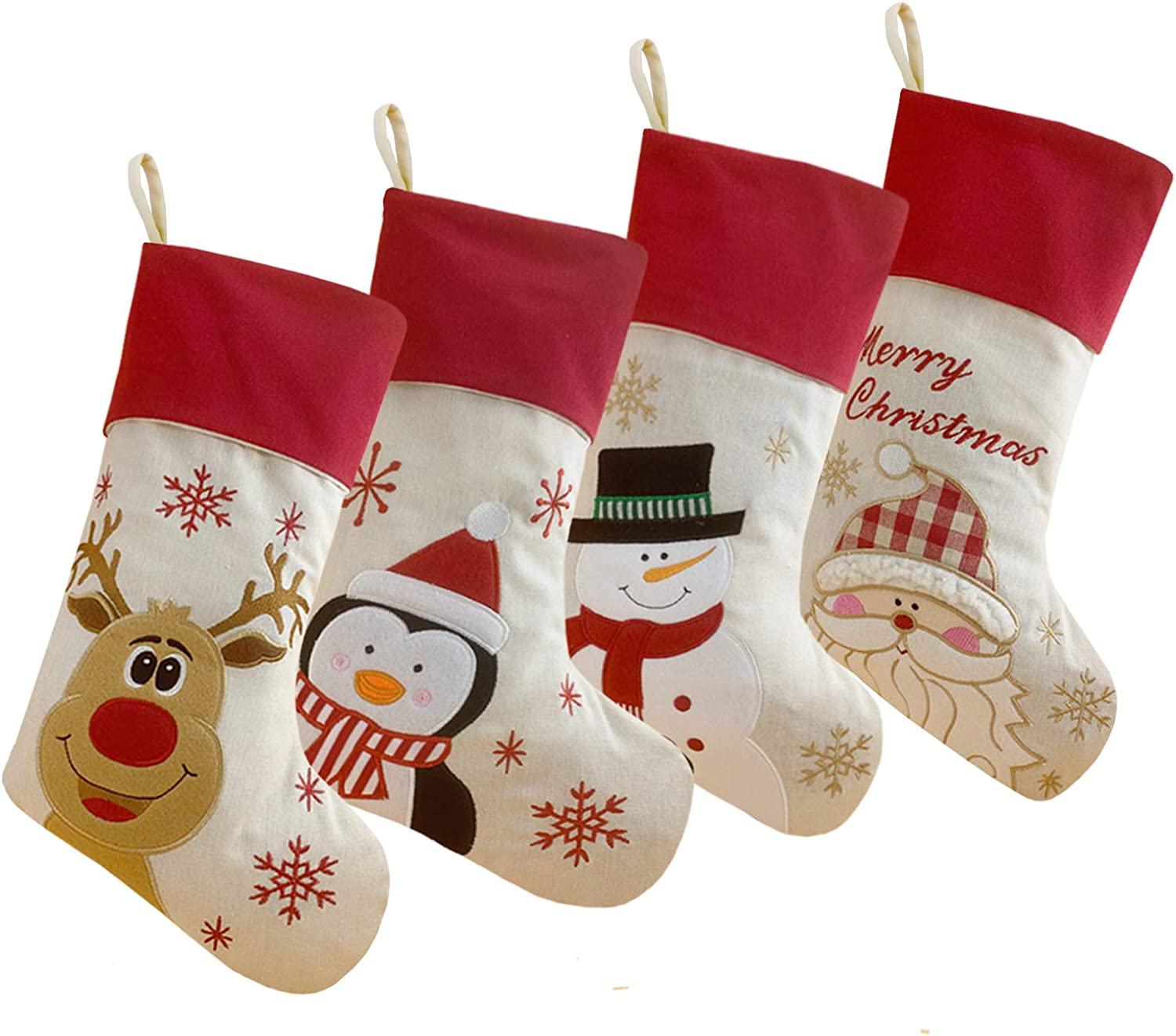 MNSZLKF Embroidered Christmas Stockings Set of 4 Santa, Snowman, Reindeer,Penguin, Home Decorations Gifts forFamily Party Decorations