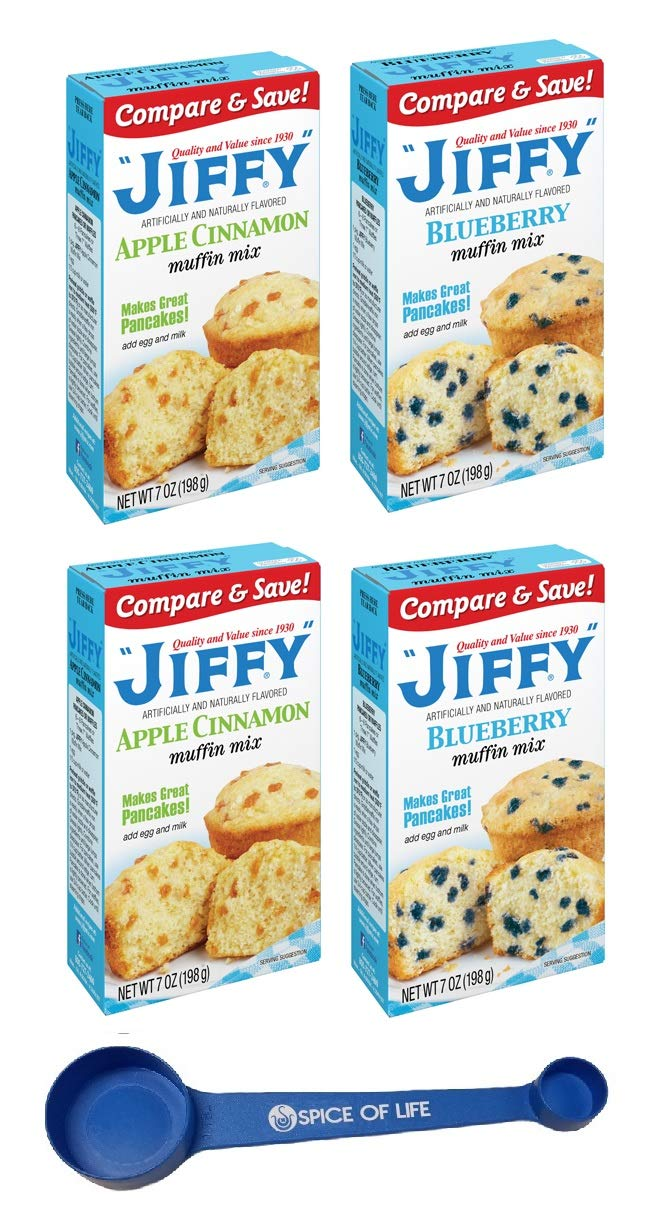 Jiffy Muffin Mix, Blueberry and Apple Cinnamon, Two 7 Oz Boxes of Each Flavor with Spice of Life 4-in-1 Measuring Spoon