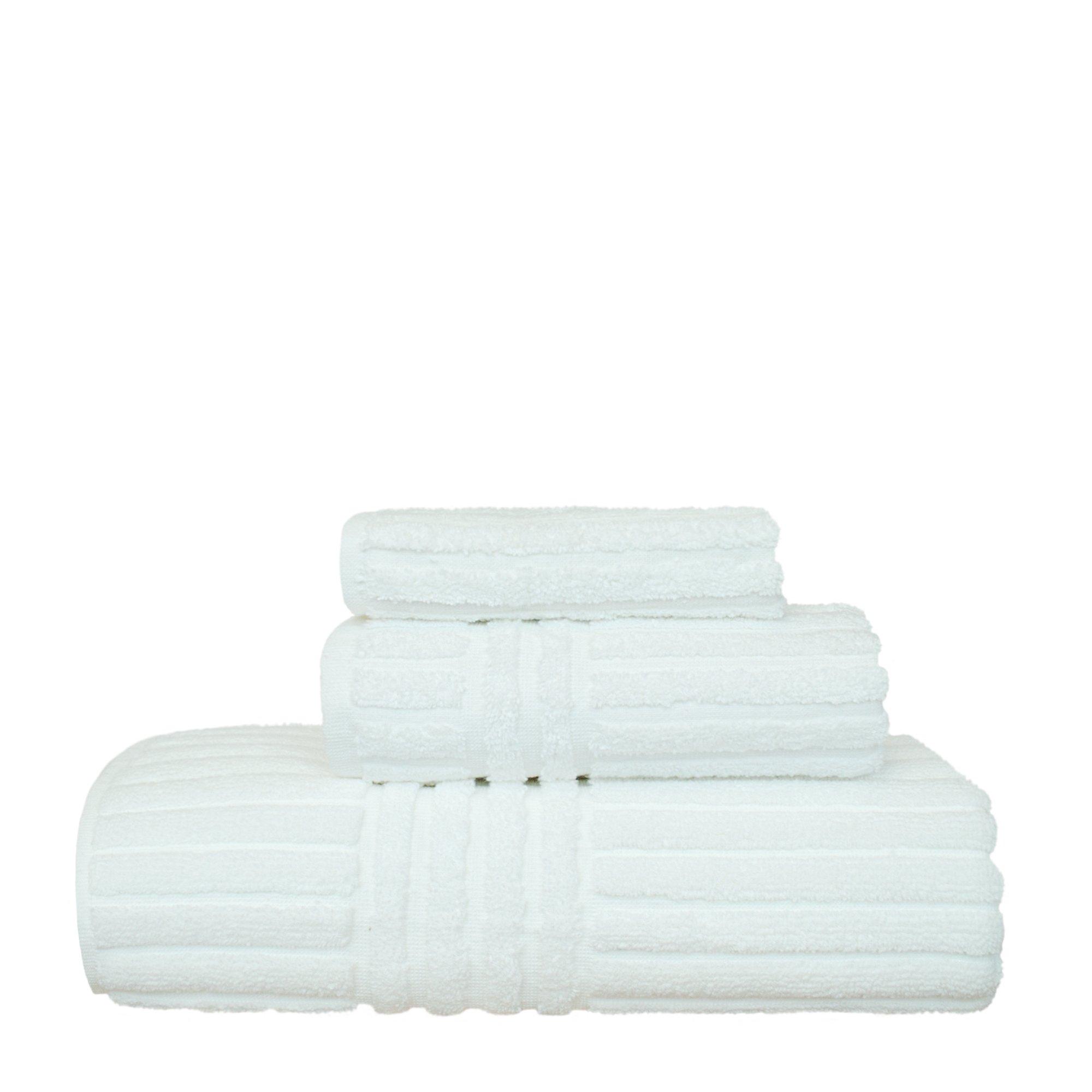 BC BARE COTTON 3 Piece Luxury Hotel & Spa Towel 100% Turkish Cotton Striped Set, Set of 3, White, 3