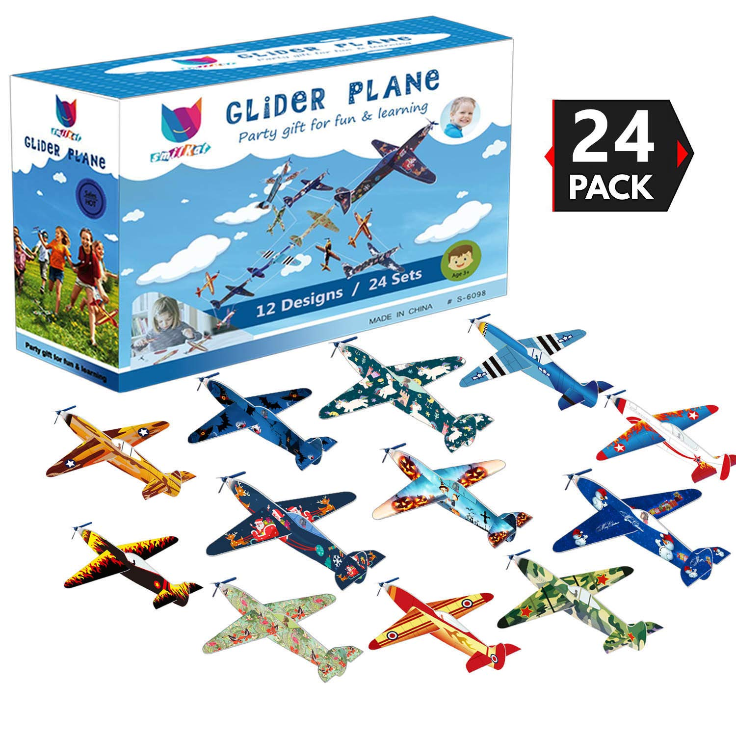 Smilkat Glider Plane Party Favors - 12 New Models 24 Pack 8 inch Flying Styrofoam Airplanes, Easy Assembly, Kids Toy for Birthday Party, School Classroom Rewards Carnival Prizes by Smilkat (Image #7)