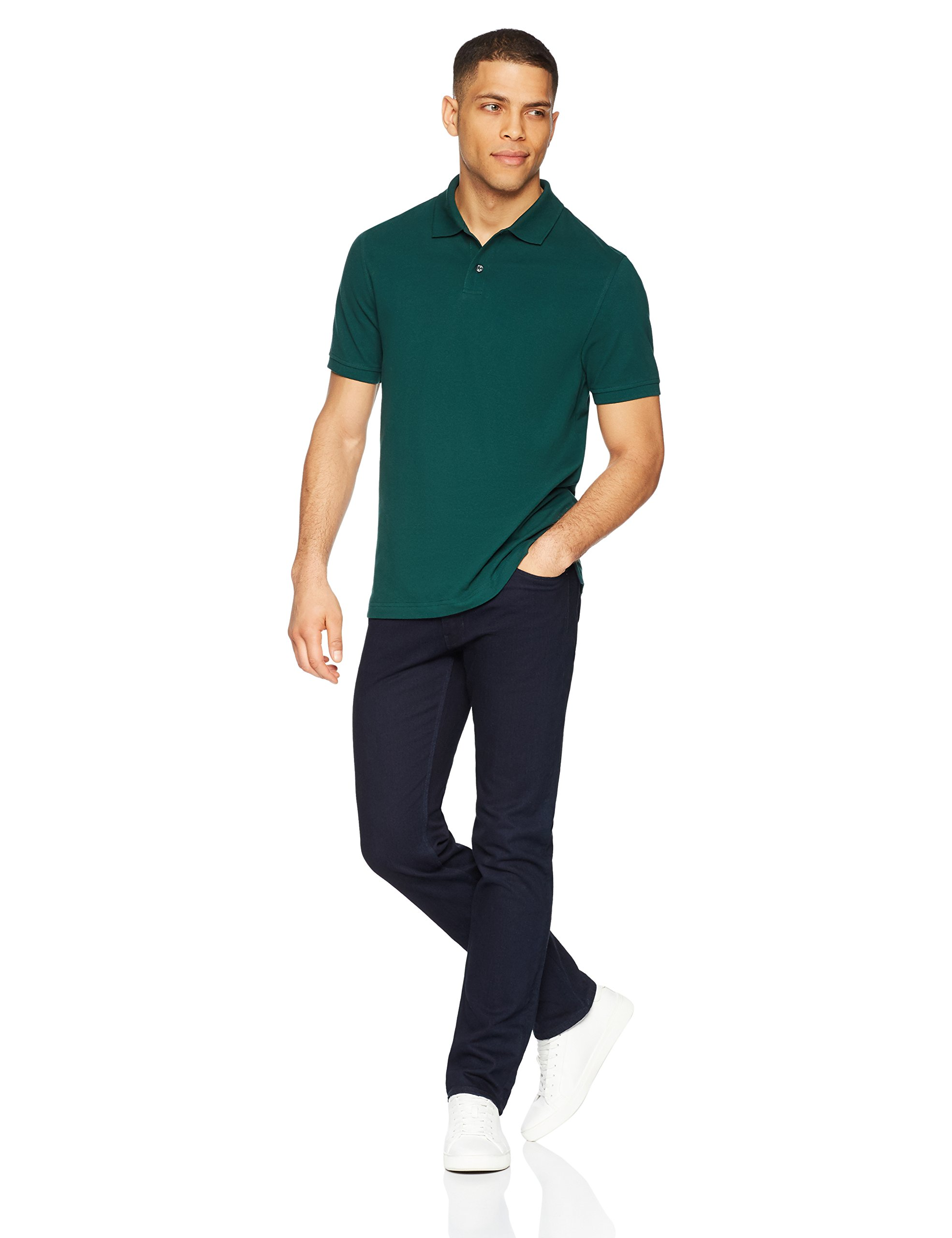 Amazon Essentials Men's Slim-Fit Cotton Pique Polo Shirt, Hunter Green, Large by Amazon Essentials (Image #2)