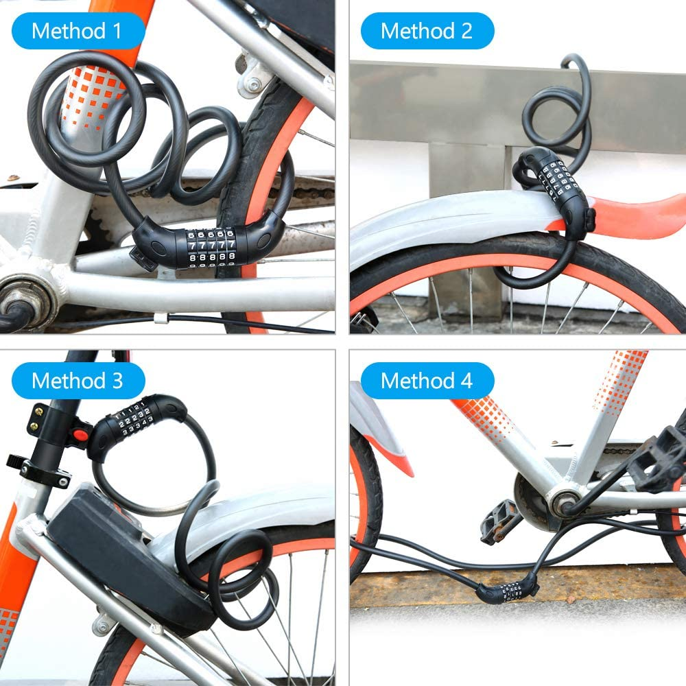 Portable Anti-Theft Bike Bicycle Lock Cable Round Password Security Protector