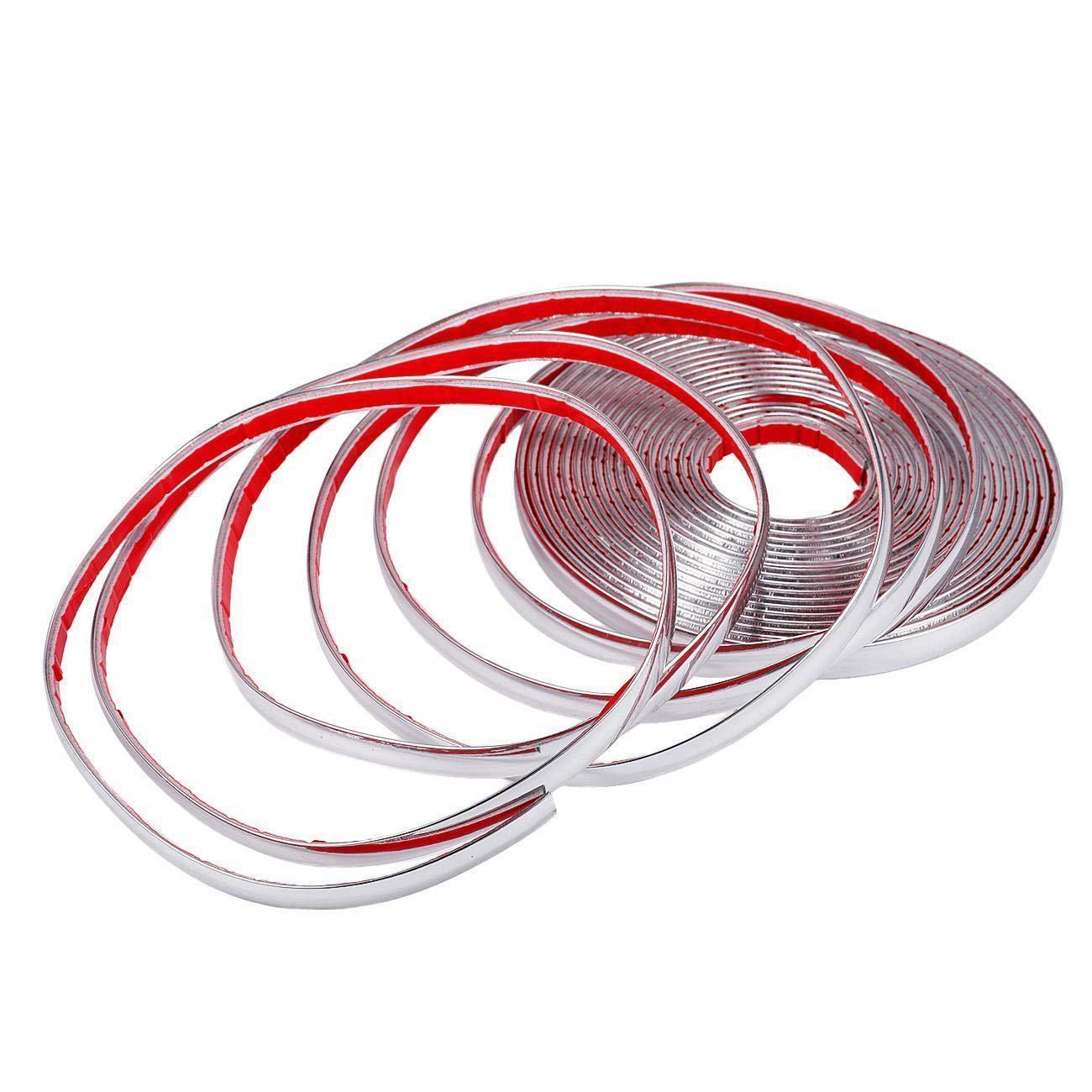 Gaosheng Chrome Moulure d/écorative autocollante 10 mm x 15 m autocollante universelle pour voiture bandes flexibles en plastique pour d/écoration de fen/être de voiture bandes chrom/ées