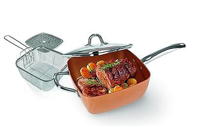 Copper Chef – Juego de sartén cuadrada de cerámica para asados