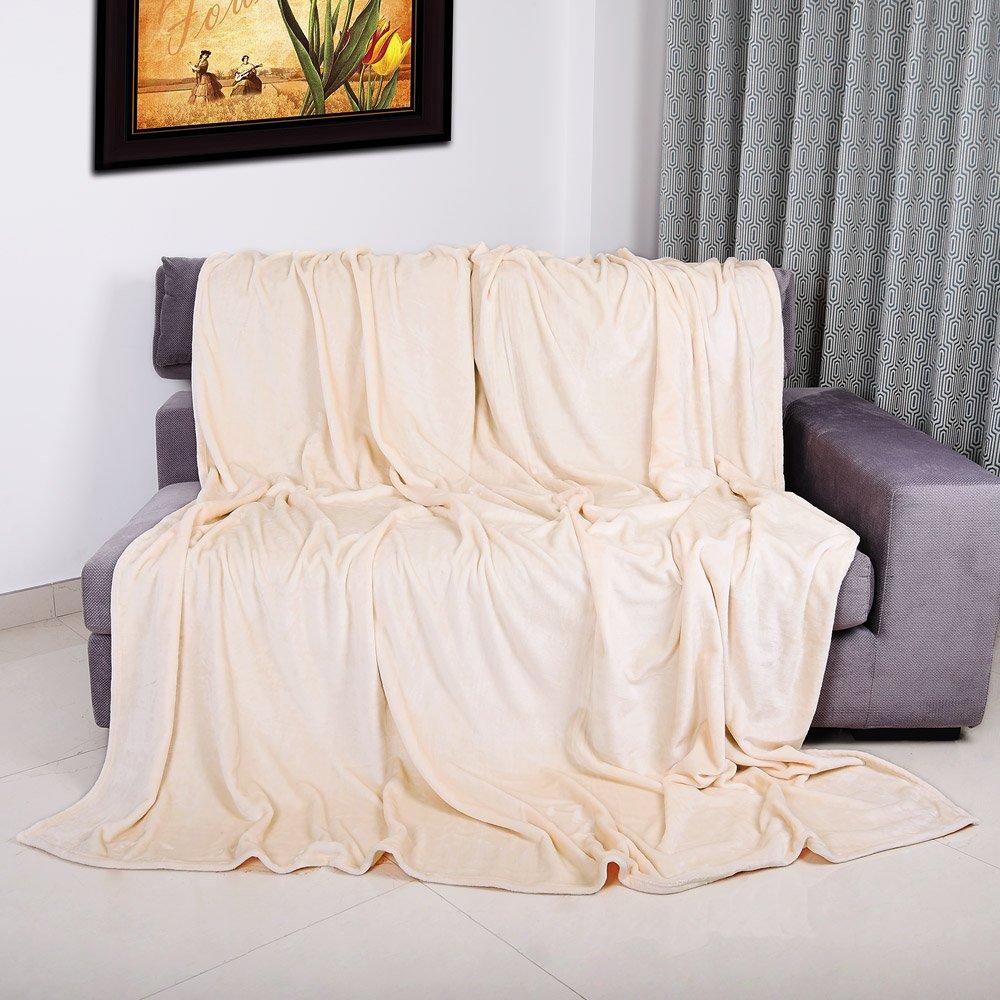 Couverture polaire plaid 200x150cm beige