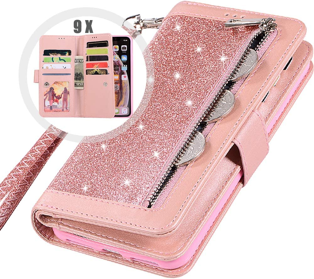 iPhone XR Bling Wallet Case with Strap for Women,Auker 9 Card Holder Folio Flip Glitter Leather Zipper Wallet Case w/Fold Stand&Money Pocket Sparkly Full Protective Purse Case for iPhone XR (RoGold)
