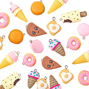 NBEADS 32 Pcs 8 Shapes Polymer Clay Pendants, Handmade Food Theme Polymer Clay Pendant for Phone Straps Key Bag Charms