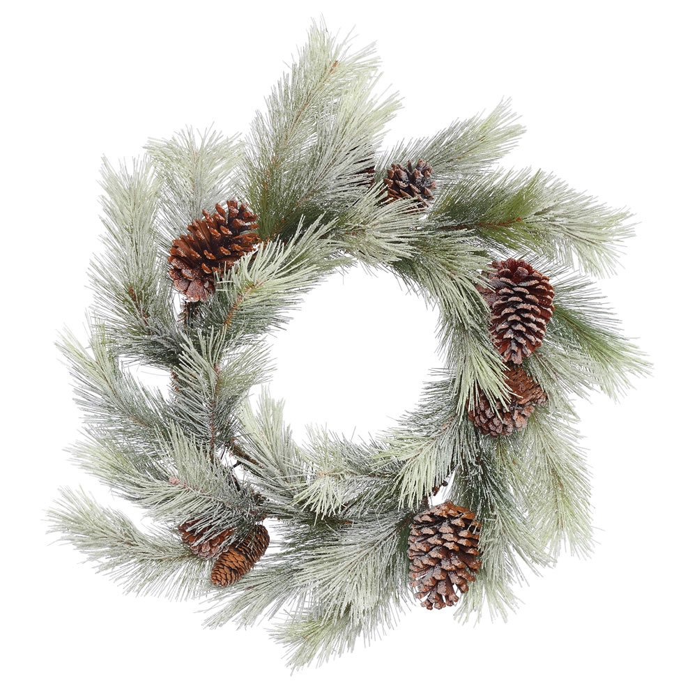Vickerman Frosted Bellevue Pine Wreath with Cones & 30 Hard Needle Tips, 24''
