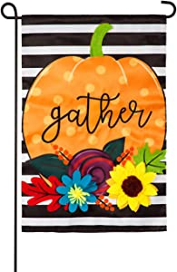 Evergreen Flag Indoor Outdoor Décor for Homes Gardens and Yards Striped Gather Pumpkin Garden Applique Flag