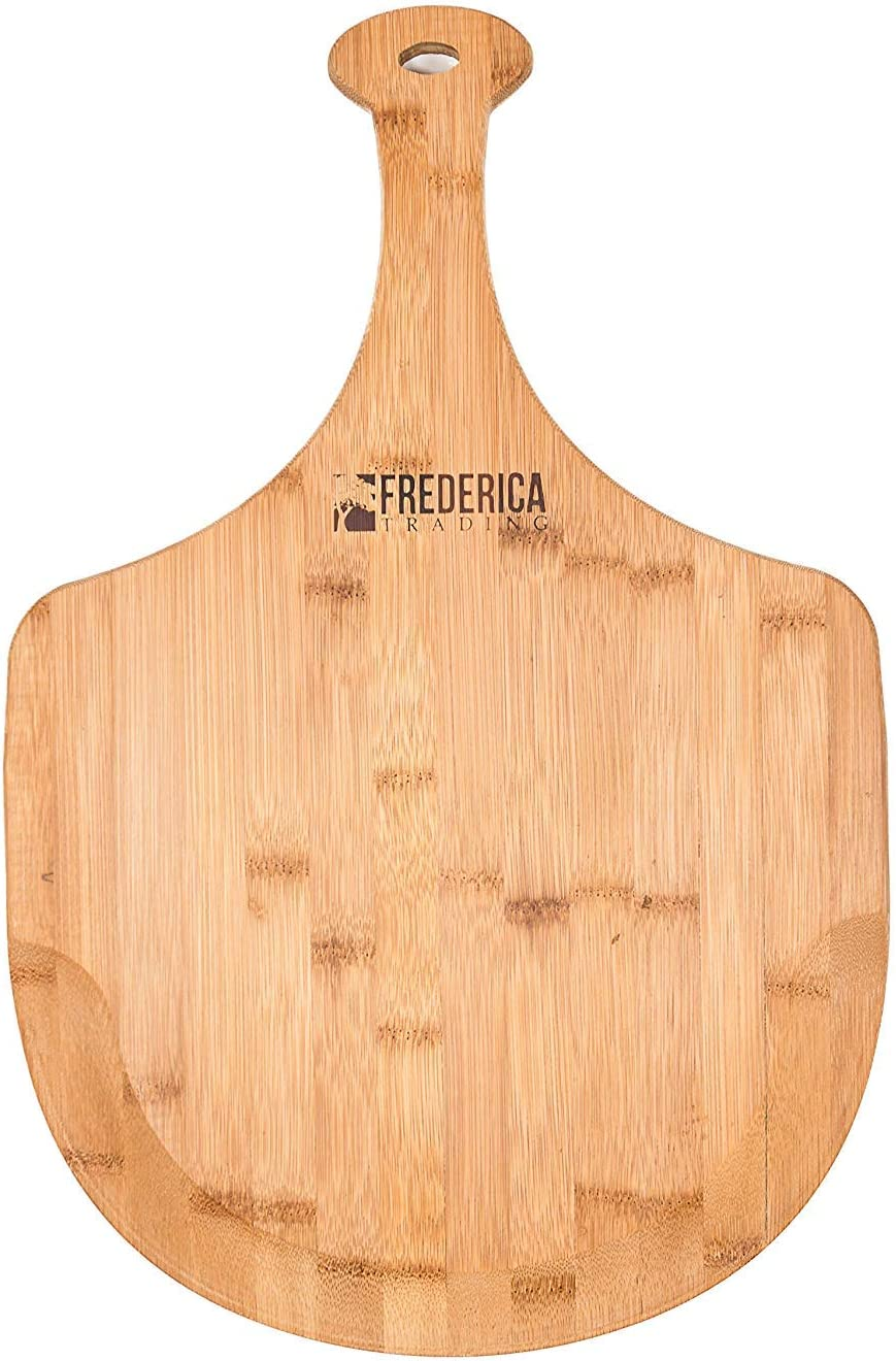 Organic Bamboo Pizza Spatula Paddle /& Cutting Board with Handle For Pizzas, Bread Baking, Fruit and Cheese Serving Tray Premium Bamboo Wooden Pizza Peel 2-Piece Set