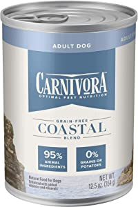 Blue Buffalo Carnivora Optimal Prey Nutrition High Protein, Grain Free Natural Adult Wet Dog Food Cans, Coastal Blend 12.5oz