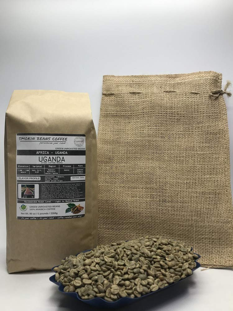 5 Pounds - Northern Africa - Uganda - Unroasted Arabica Green Coffee Beans - Grown Region Rwenzori - Altitude 1200-1500M - Bukonzo Organic Farmers - Drying/Milling Process Washed - Includes Burlap Bag by Smokin Beans