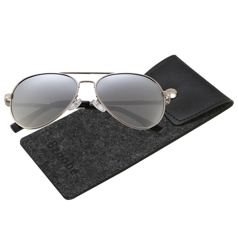 Brooben Kids Baby Aviator Sunglasses,Shileded Metal Frame Lenses for Boys/Girls 3-15 Age 3025 (Silver-Silver)