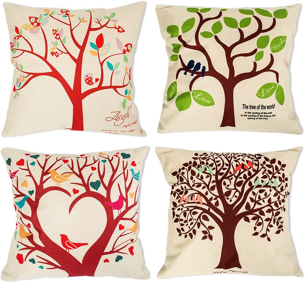 laime Throw Pillow Covers Decorative Pillowcases 18x18inch (4 Pieces Set) Pillow Cases Home Car Decorative (Bird on The Tree)