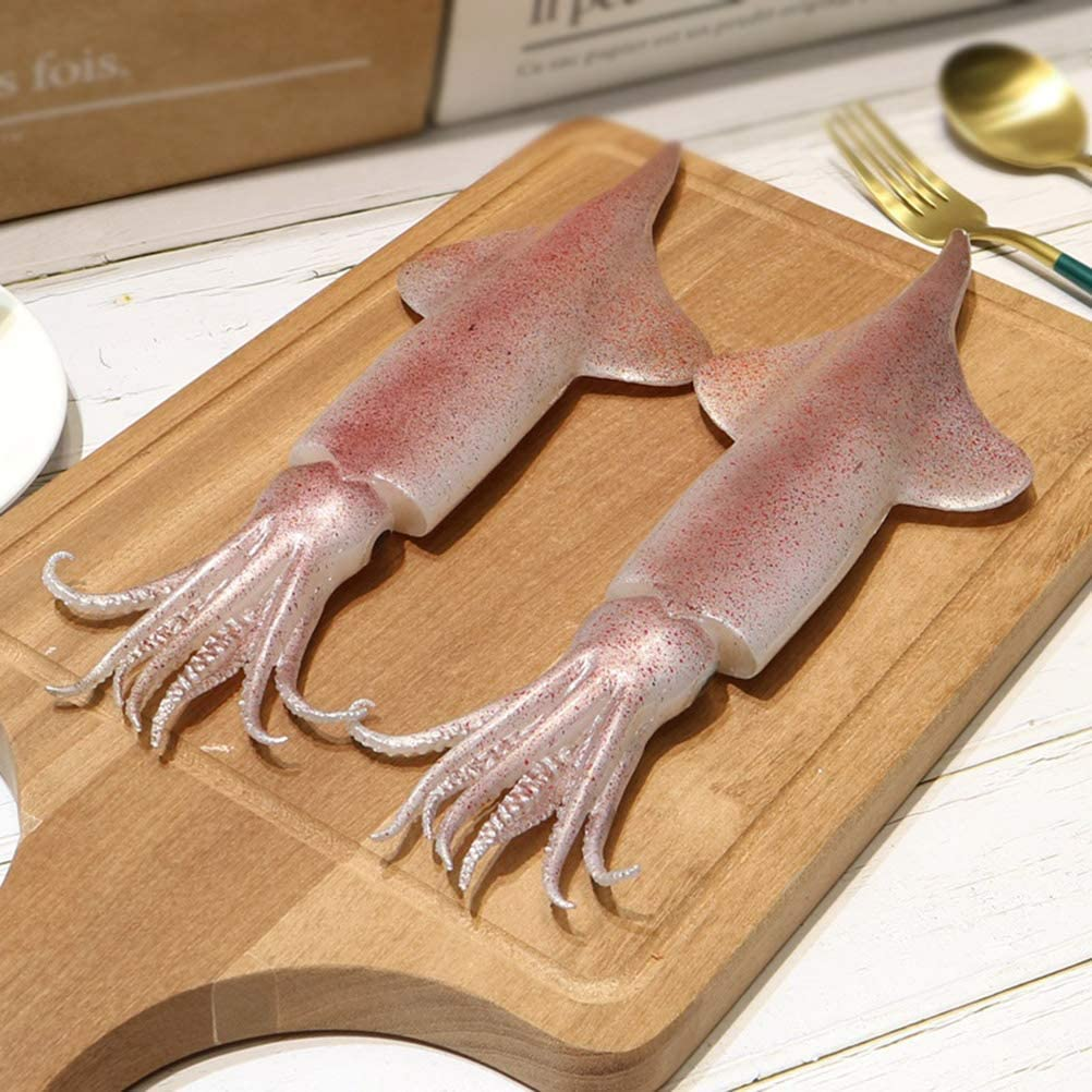 2 Pcs Lifelike Artificial Seafood Big Squid, Fake Fish PVC Material, for Home Decoration, Kids Pretend Play, Stage Drama Photography Prop, Dimensions: 28 X 9 cm