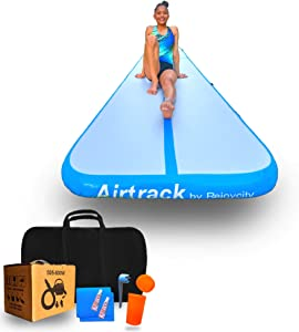 Rejoycity Air Mat (20ft,3.3ft,4in): Premium Inflatable Gymnastics Mat for Training & Endless Fun @ Home - Durable|Portable|Airtight|Easy to Inflate Tumbling Mat