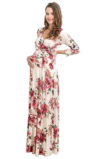 Hello MIZ Vestido de Maternidad para Mujeres Pequeña Marfil/Rojo: Amazon.es: Ropa y accesorios