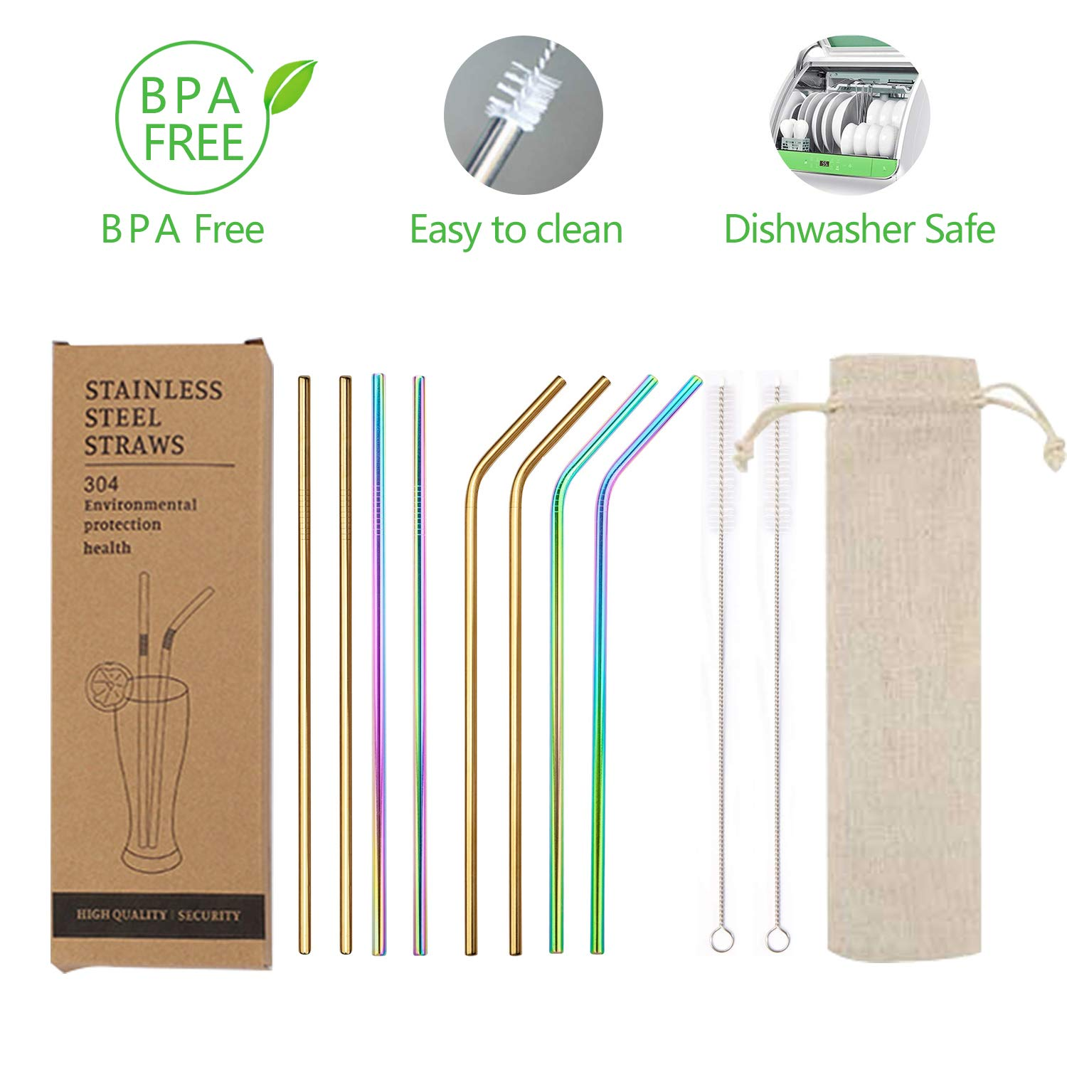 Eco Friendly Stainless Steel Drinking Straws-Premium Reusable Metal Straw 8.5 for 20-30 Oz Tumblers 4 Curved Silver Dishwasher Safe- BPA Free 4 Straight 2 Cleaning Brushes