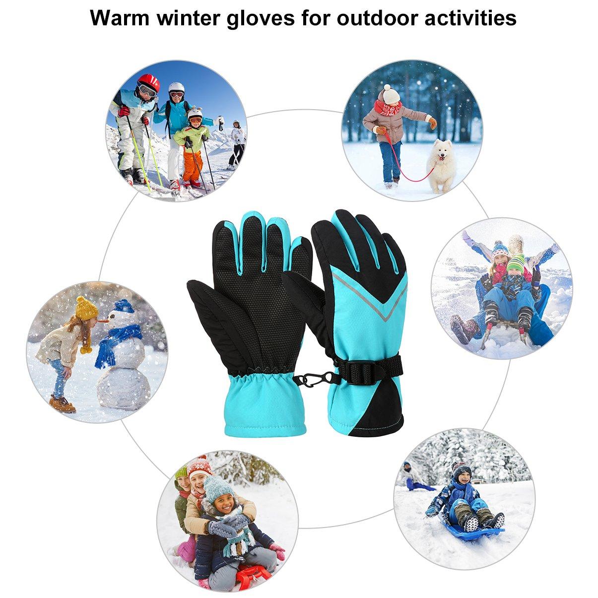 Vbiger Kinder Skihandschuhe Schnee Handschuhe Outdoor Sporthandschuhe with Anti-Rutsch Plam Winddicht Wasserdicht Warme Winter Handschuhe for 6-14 Jahre alt Junge und Mädchen