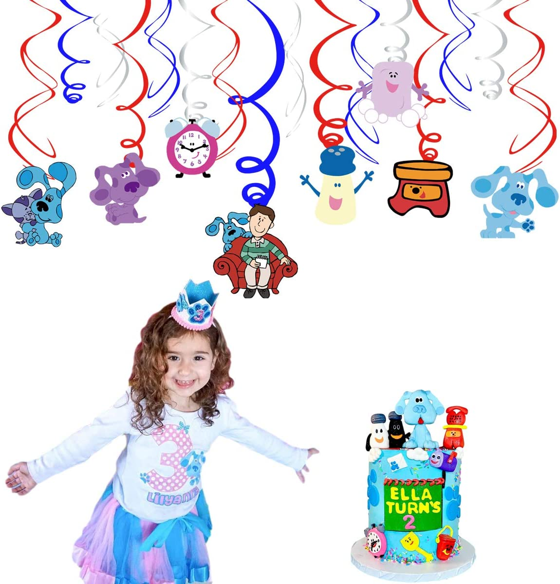 blues clues Theme Hanging Swirl Ceiling Decoration Ribbon Party Supplies 30 pcs blues clues Party Swirl Decoration