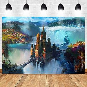 Fantasy Flim Background for Cartoon Movie Party Decorations MEETSIOY Fantasy Fairytale World Palace Castle Backdrop Kids Cartoon Movie Party Decor Banner 7x5ft ZYMT0998