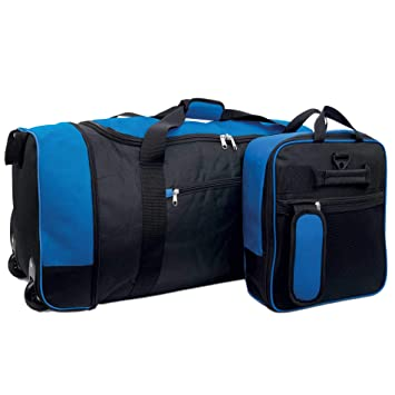 fa8656fd7484 iN Travel Foldaway Holdall On Wheels (Black Blue)  Amazon.co.uk  Luggage