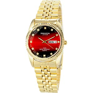 f18ba7ce408 Swanson Men s Gold Day-Date Watch Faded Red Dial with Travel Case