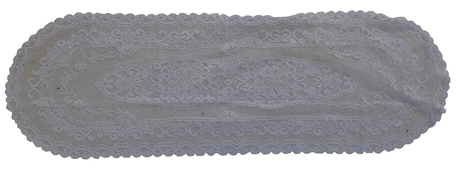 15x45 Inch J/&Js ToyScape Polyester White Lace Table Runner Table Cover Oval