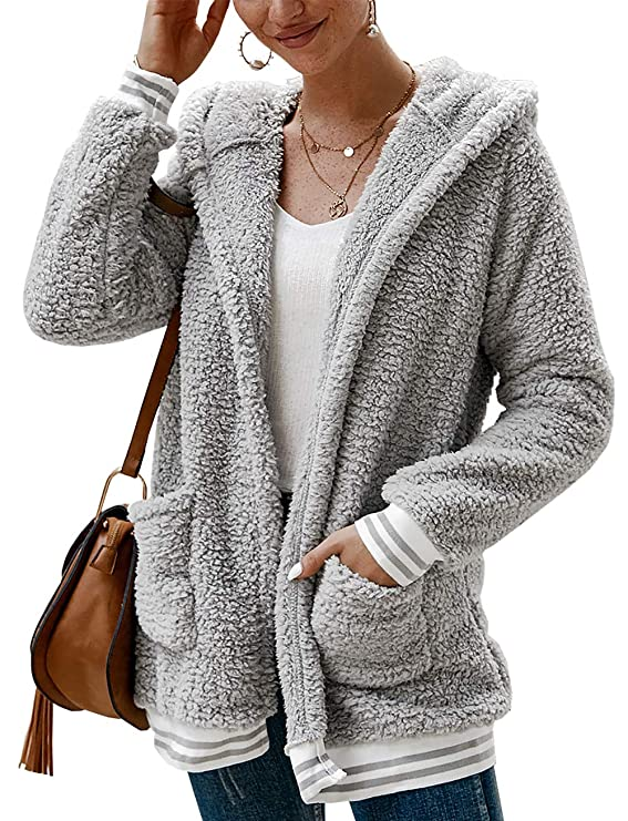 BTFBM Women Fleece Hooded - Open Front Long Sleeve Fuzzy Sherpa Loose Warm Winter Two Pockets Coat Jacket Outwear (Light Grey, X-Large) best women's faux sherpa jacket