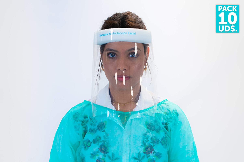 Oedim Pantalla Protección Facial Transparente, Pantalla Protectora Cara, Protector Facial, Visera Protectora con Agarre de Velcro Trasero, Fabricado en España (Pack x10 Uds)