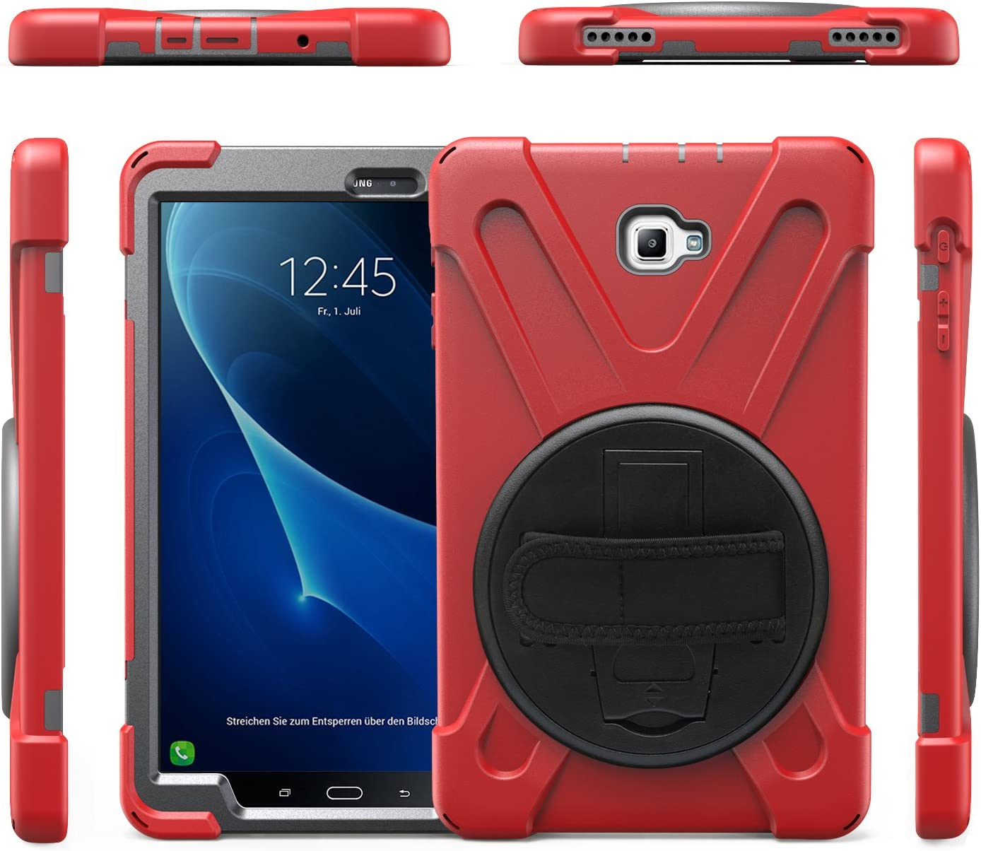 Carcasa Rugosa con Soporte Rotaci/ón Gerutek Funda Antica/ída para Samsung Galaxy Tab A 10.1 2019 Correa de Mano//Hombro Funda Antichoque para Galaxy Tab A Tablet 10.1 2019 Rojo SM-T510//SM-T515