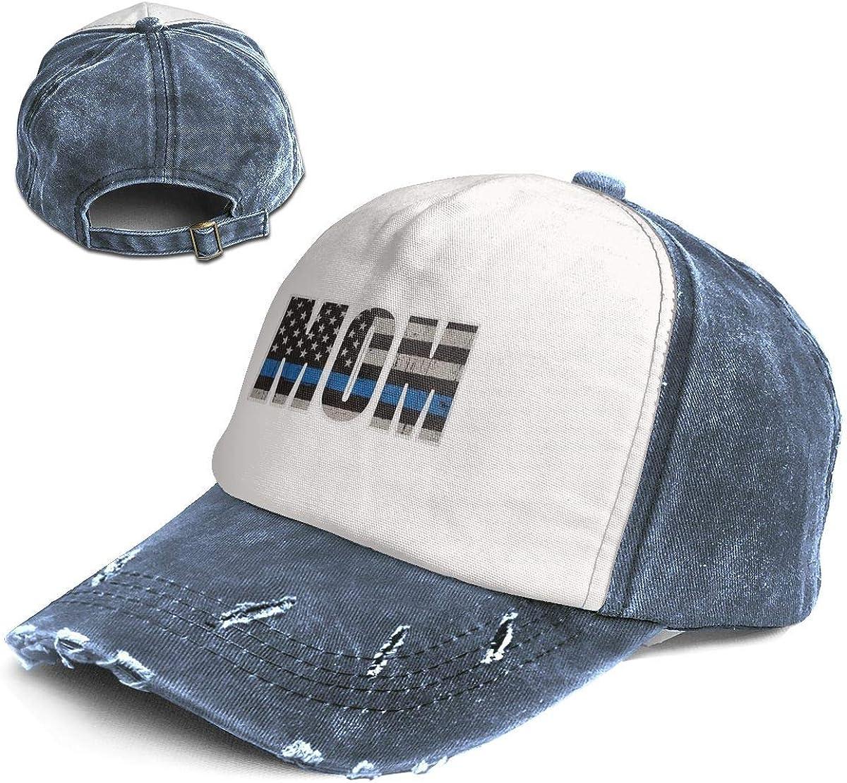Fashion Vintage Hat MOM Thin Blue LINE Mom Adjustable Dad Hat Baseball Cowboy Cap