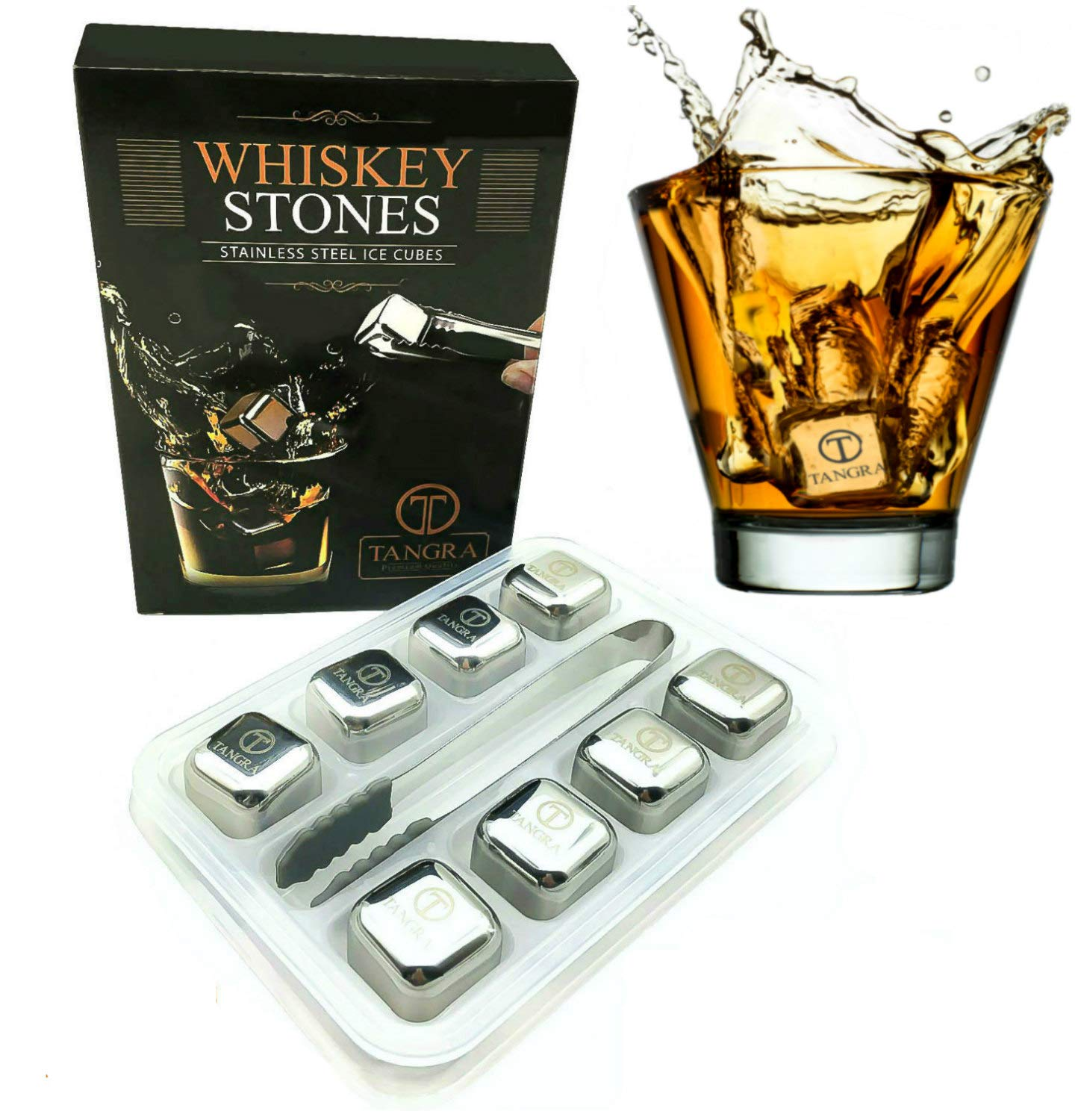 Whiskey Stones Gift Set of 8 Stainless Steel Reusable Ice Cubes with Tray and Tongs. Bar Accessory for Whiskey or Wine Lovers. no Dilution, Taste or Odor with Chilling Cubes and Rocks by TANGRA.