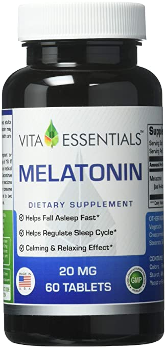 Vita Essentials Melatonin 20 Mg Tablets, 60 Count