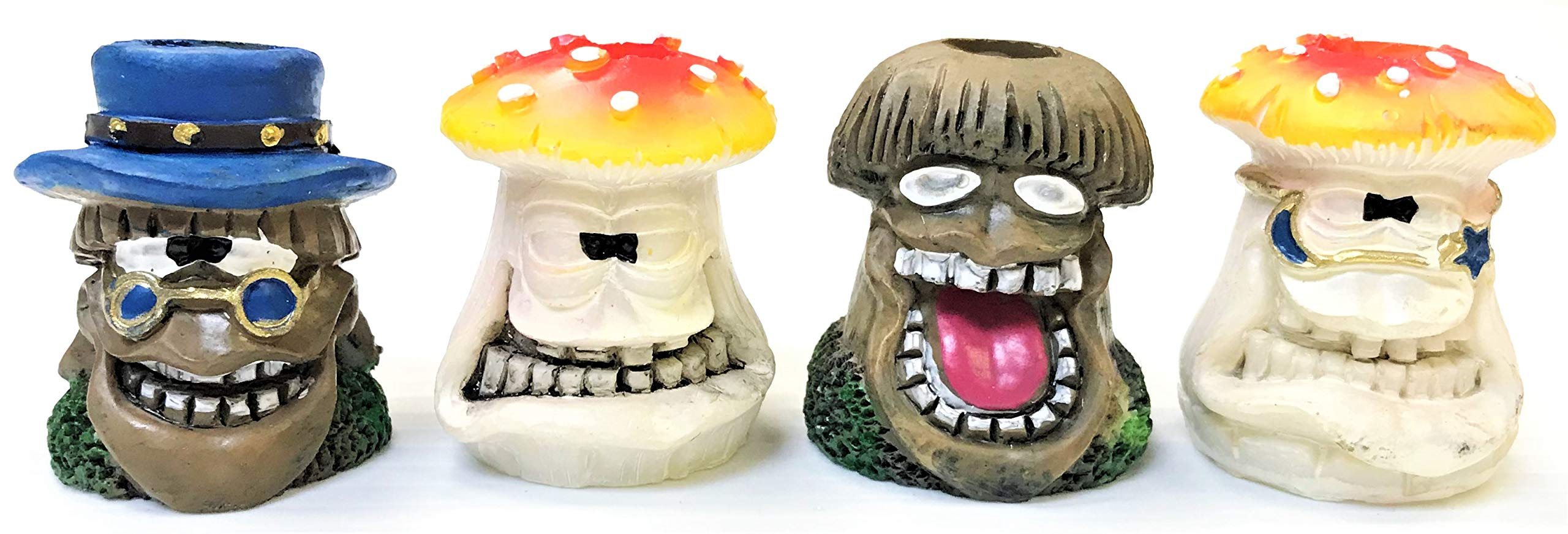 Eclipse Novelty Collectible Mushroom Head Design Hand Painted Resin Cigarette Snuffer, 4ct, Smoke Head Stop, Butt21-4