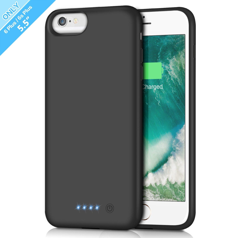 iPhone 6s Plus/ 6 Plus Battery Case 8500mAh, Rechargeable Extended Charging Case iPhone 6Plus Battery Pack Apple 6s Plus Portable Power Bank [5.5 inch]- Black