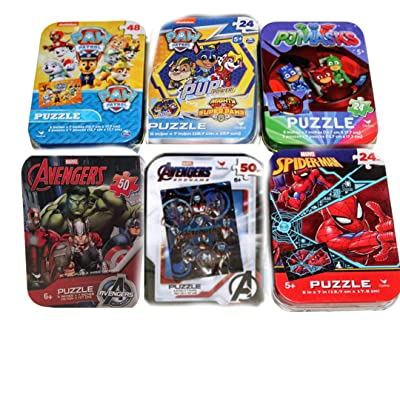 6 Collectible Puzzle Tins for Boys Ages 5+ Gift Set Bundle PJMasks Spider-Man Marvel Avengers Iron Man Hulk Captain America Paw Patrol: Toys & Games