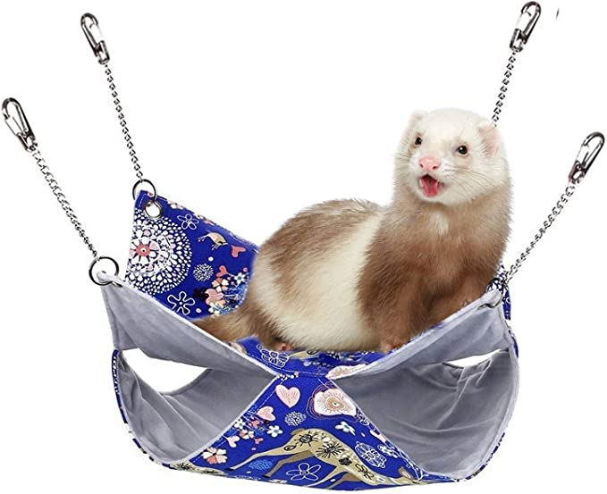 POPETPOP Rat Hammocks-Double Layer Hammock for Small Animal Ferret Guinea Pig Degu Gerbil Mice Hamster Chincilla Hammock Sleeper Cage Accessories-Small Blue