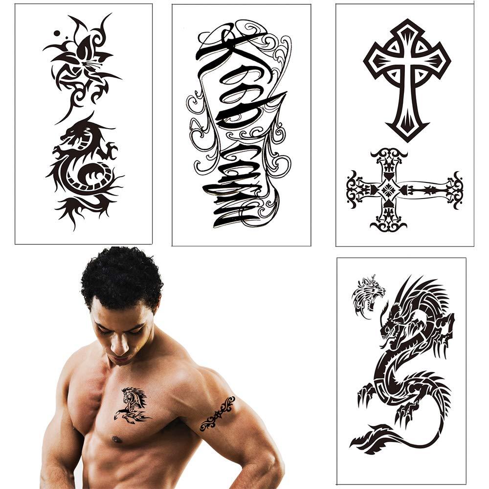 Tatuajes temporales para adultos, Vibury 21 Hojas Temporales temporär Tattoo tatuaje cuerpo pegatinas Brazo pecho y espalda- Dragon Heartbeat Tiger Vine ...
