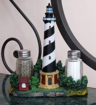 Nautical Cape Hatteras Lighthouse Glass Salt And Pepper Shaker Set Figurine  With Holder In Decorative Kitchen