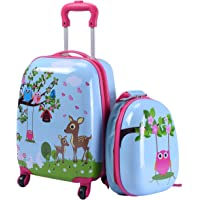 GOPLUS 2 in 1 Valigetta bimbo Trolley bambino Piccolo Bagaglio di Viaggio Carino Valigetta+Zaino Blu