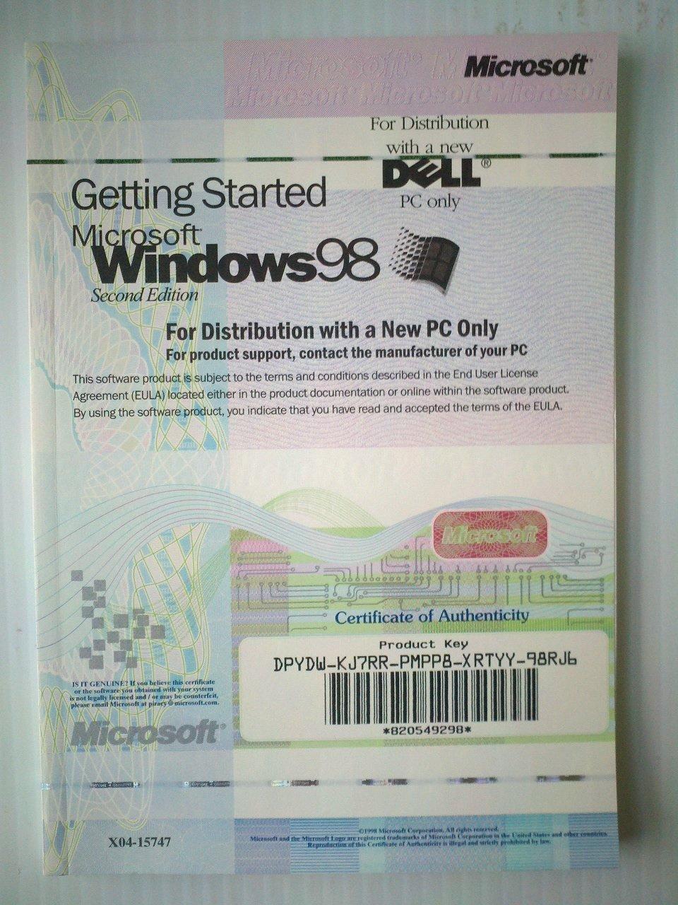 Amazon Microsoft X04 15747 Windows 98 2nd Edoem Book And