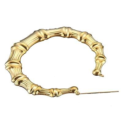 MultiWare Large Bamboo Earrings Hip-Hop Ladies Hoop Bling Circle 9cm uWFa5
