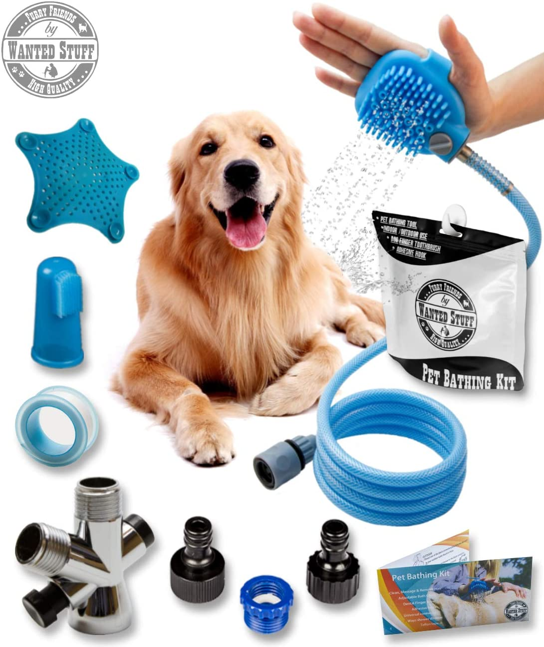 Wantedstuff 3 in 1 Pet Shower Kit with Free Dental Finger Brush | Dog Shower Sprayer, Adjustable Bath Glove, Clean, Massage & Remove Hair | Shower Attachment for Indoor & Outdoor Use | Pet-Friendly