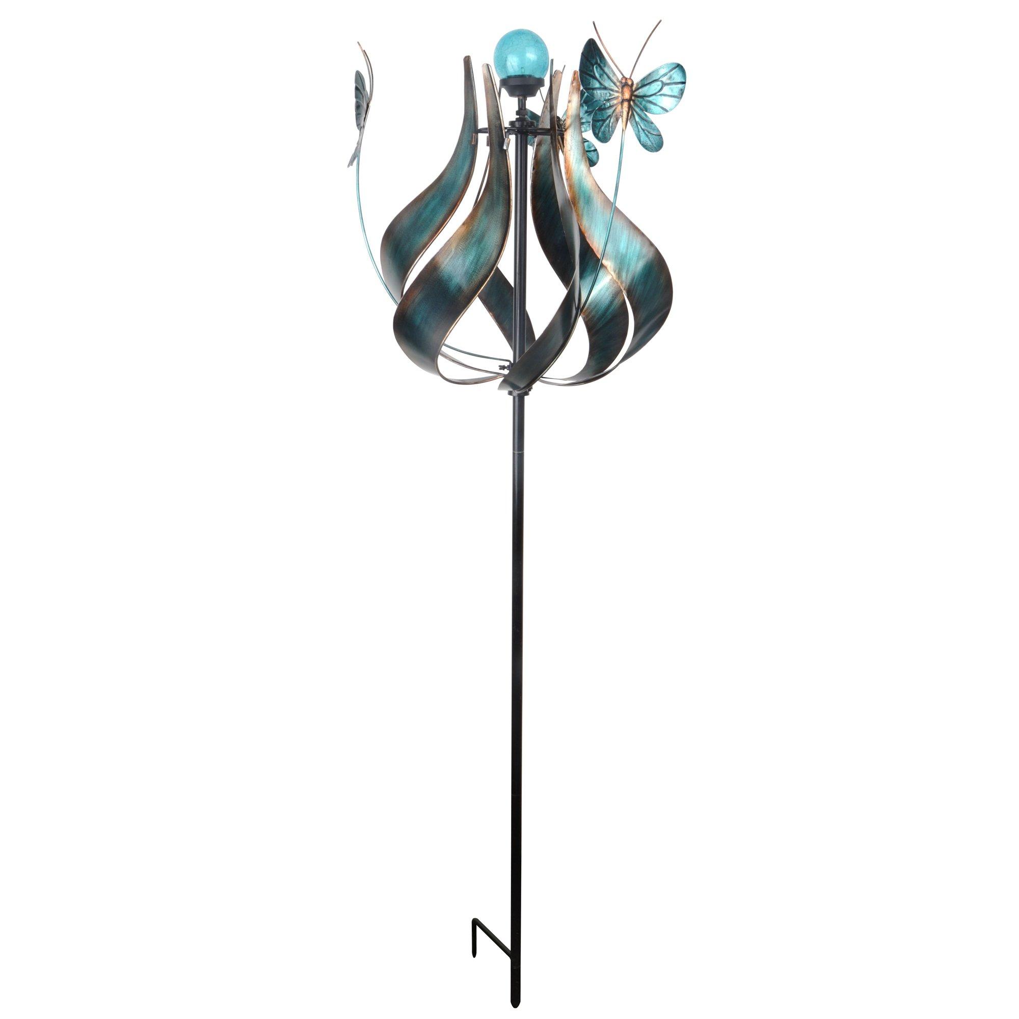 Peaktop Metallic Kinetic Tulip Windmill Garden Spinner with Butterflies, Teal